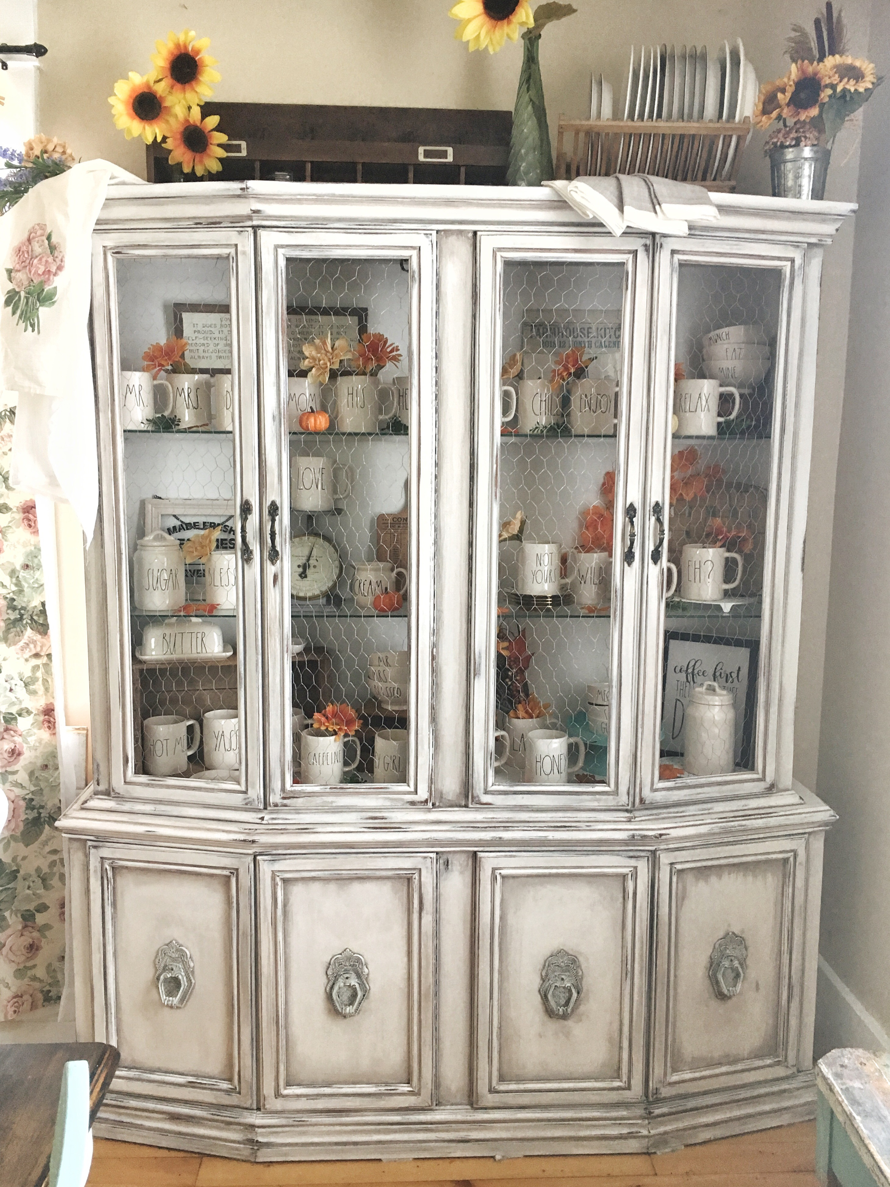 China Cabinet With Chicken Wire