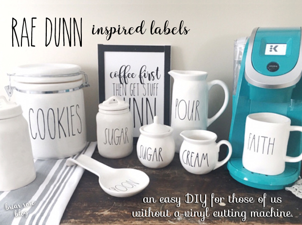 Rae Dunn inspired labels without a vinyl cutting machine.